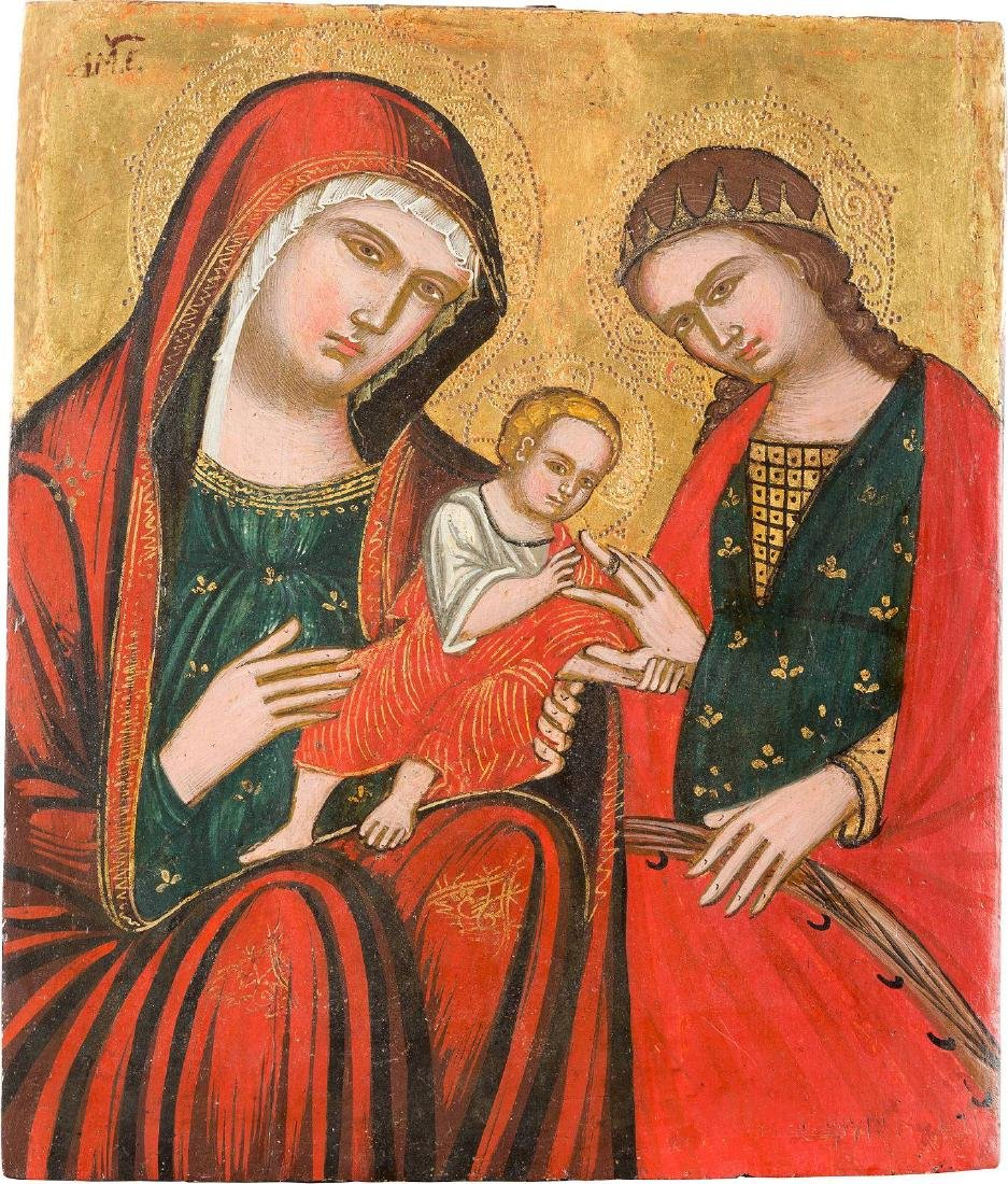 A SMALL ICON SHOWING THE MOTHER OF GOD, THE CHRIST