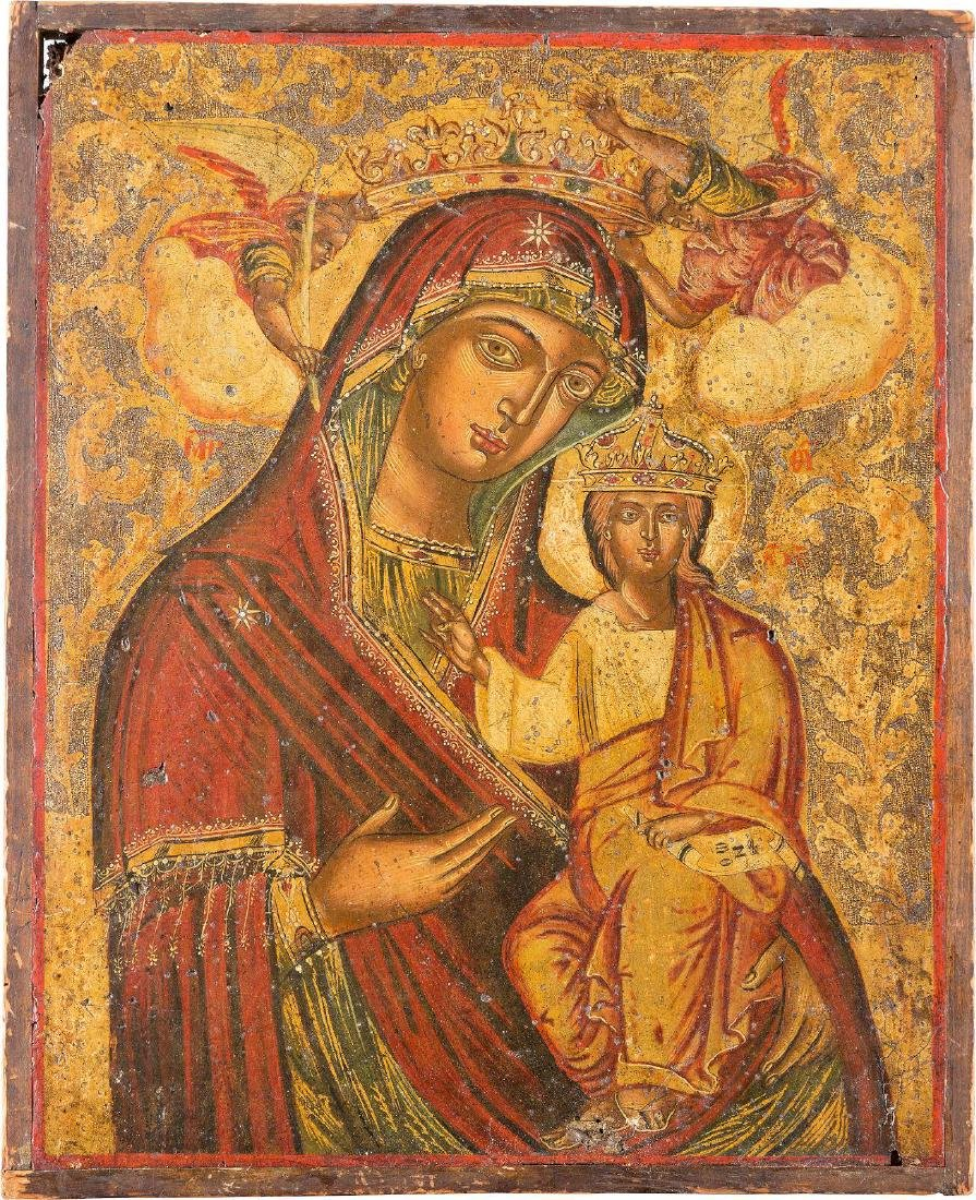 AN ICON SHOWING THE HODIGITRIA MOTHER OF GOD Greek,