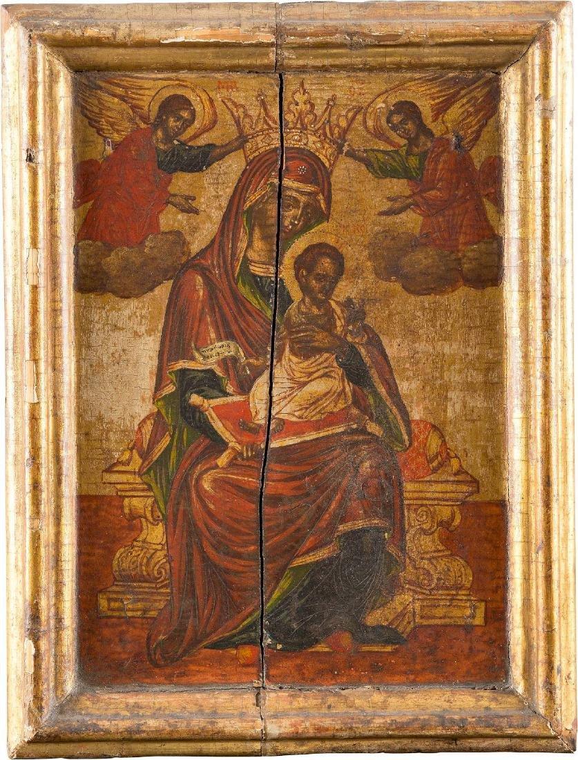 AN ICON OF THE MOTHER OF GOD 'LAMBOVITISSA' Greek, 18th