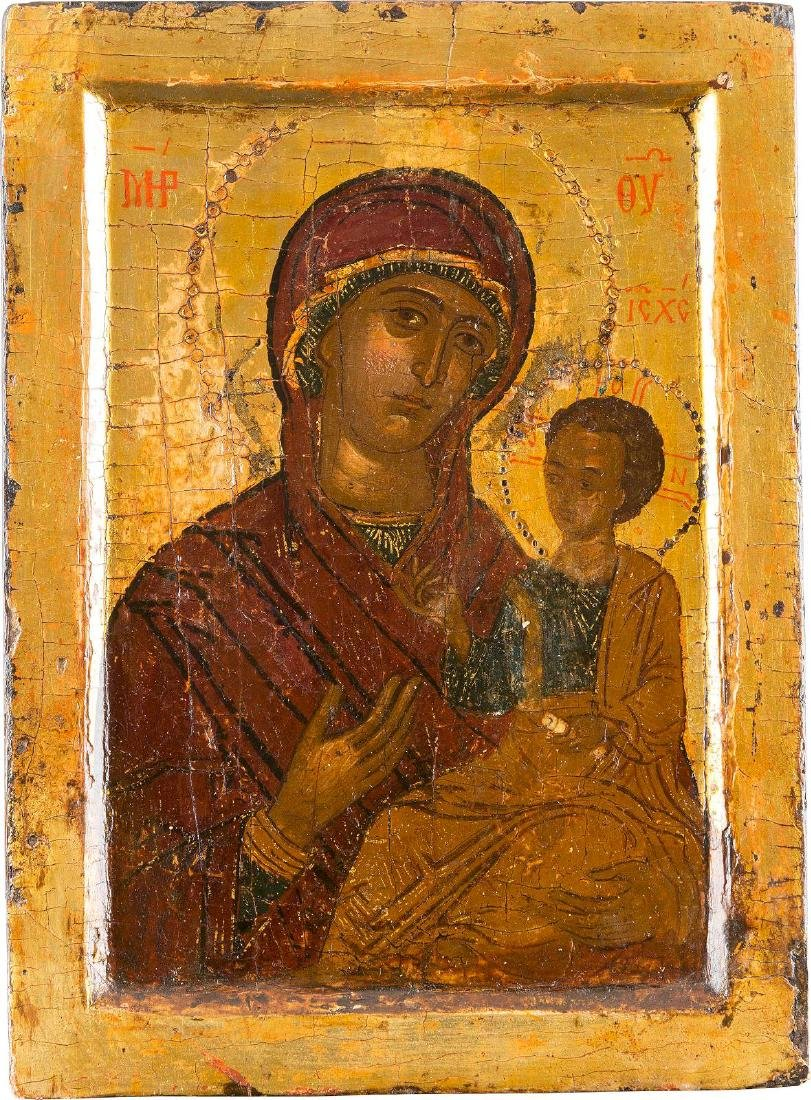 A SMALL ICON SHOWING THE HODIGITRIA MOTHER OF GOD