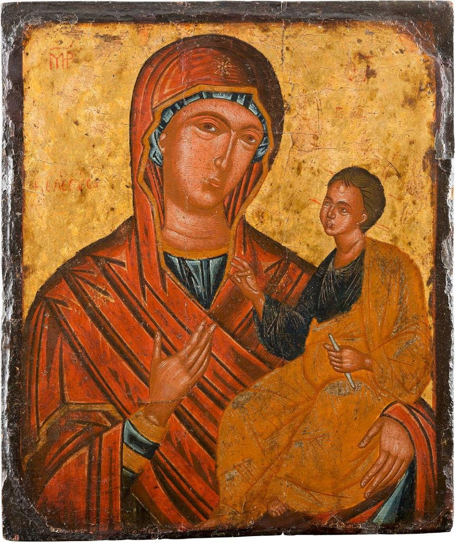 A LARGE ICON OF THE HODIGITRIA MOTHER OF GOD Greek,