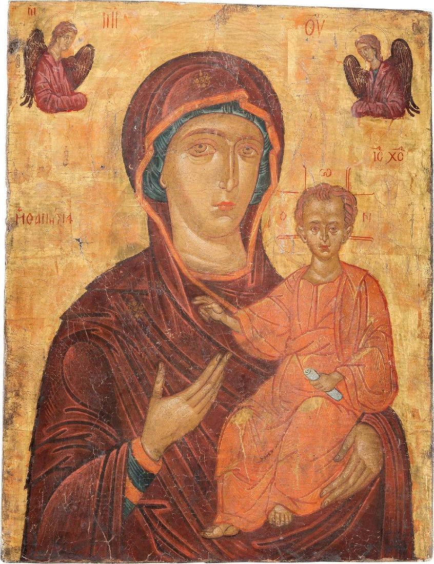 A LARGE ICON SHOWING THE HODIGITRIA MOTHER OF GOD 20th