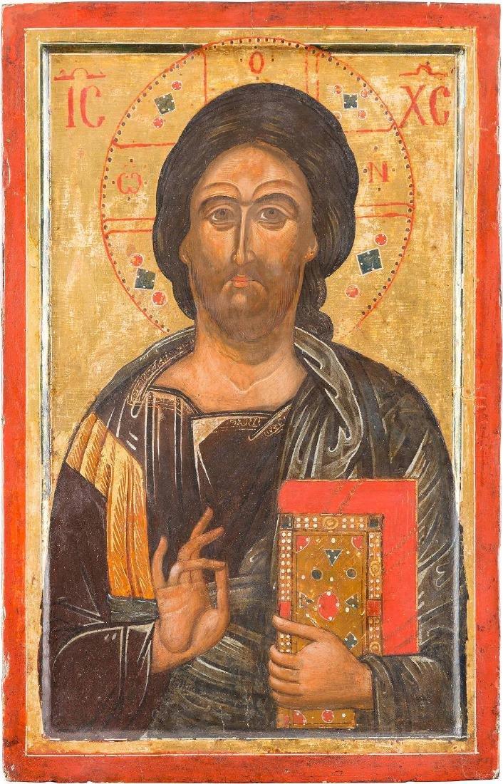 A LARGE ICON SHOWING CHRIST PANTOKRATOR Greek, Cretan,