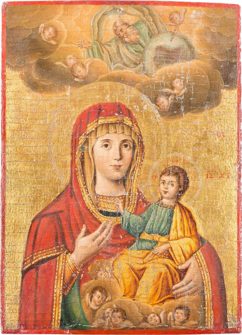 A LARGE ICON SHOWING THE HODIGITRIA MOTHER OF GOD