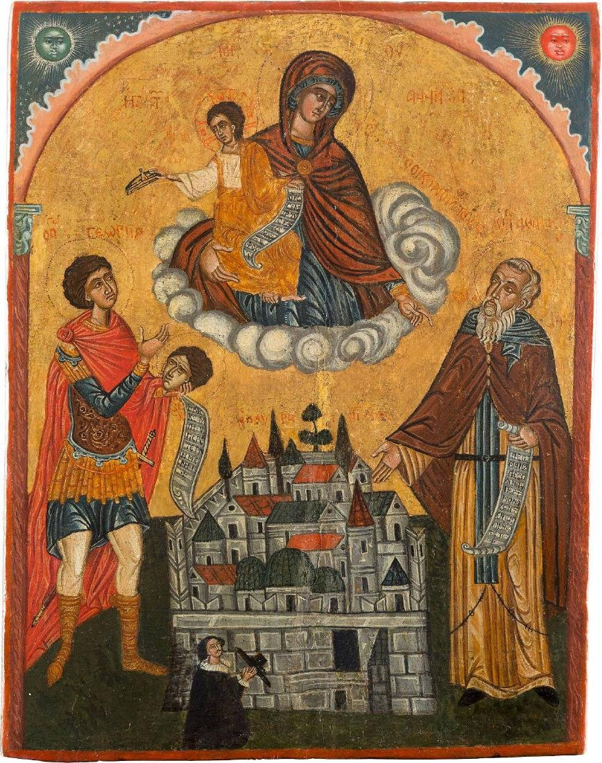 A LARGE ICON SHOWING THE MOTHER OF GOD, ST. GEORGE AND
