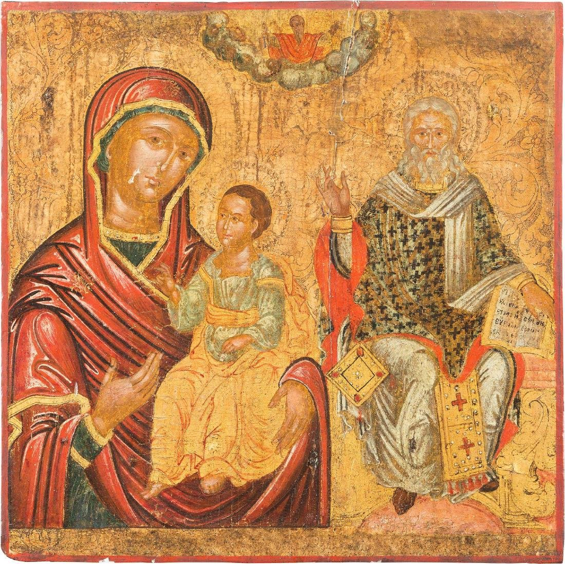 A LARGE ICON SHOWING THE HODIGITRIA MOTHER OF GOD AND A