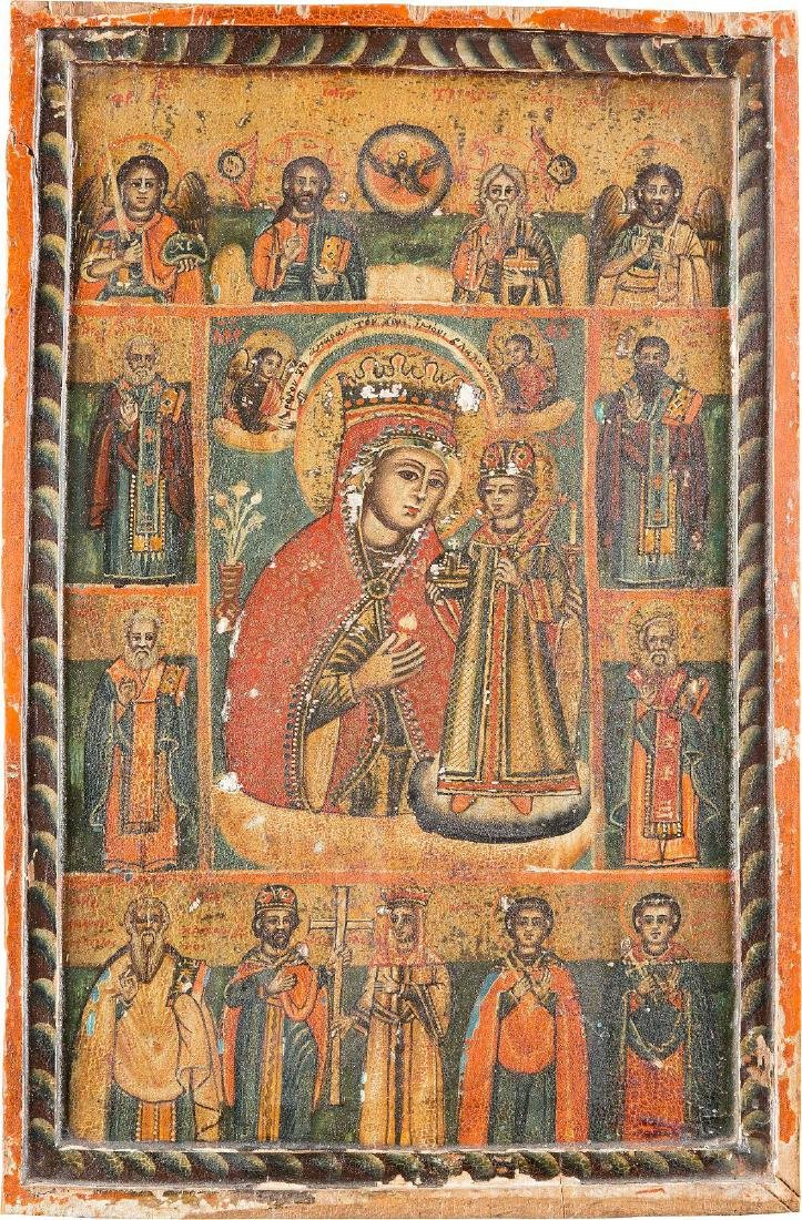 AN ICON SHOWING THE MOTHER OF GOD 'THE UNFADING ROSE'