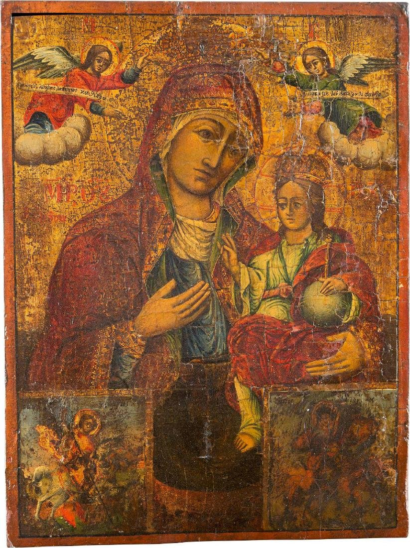 A LARGE ICON SHOWING THE HODIGITRIA MOTHER OF GOD AND