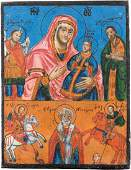A TWO PARTITE ICON SHOWING THE MOTHER OF GOD AND