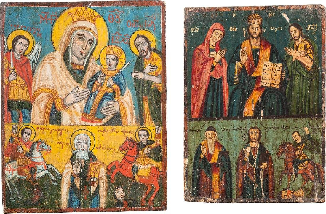 TWO TWO-PARTITE ICON SHOWING THE DEISIS AND THE MOTHER