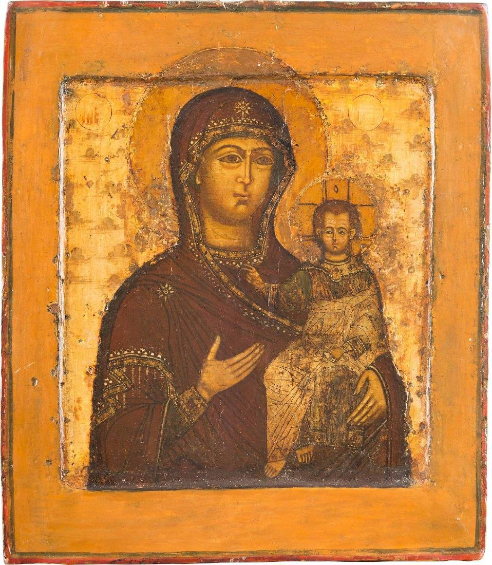 AN ICON SHOWING THE SMOLENSKAYA MOTHER OF GOD Russian,
