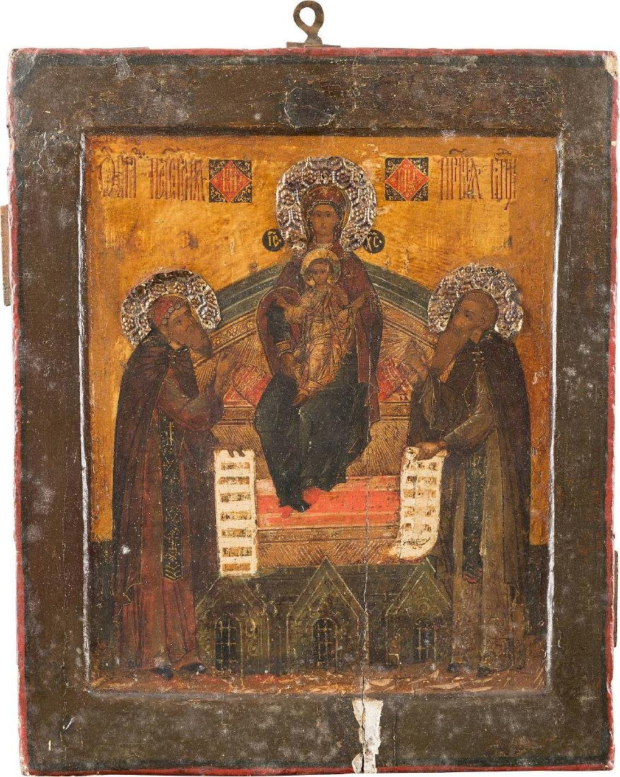 A FINE ICON OF THE MOTHER OF GOD OF THE KIEV CAVES