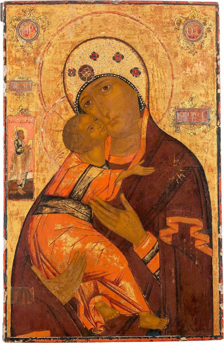 AN IMPORTANT AND LARGE ICON SHOWING THE VLADIMIRSKAYA