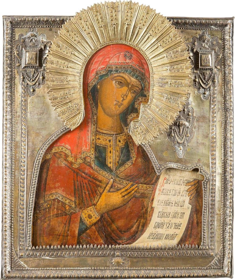 AN ICON SHOWING THE MOTHER OF GOD FROM A DEISIS WITH A