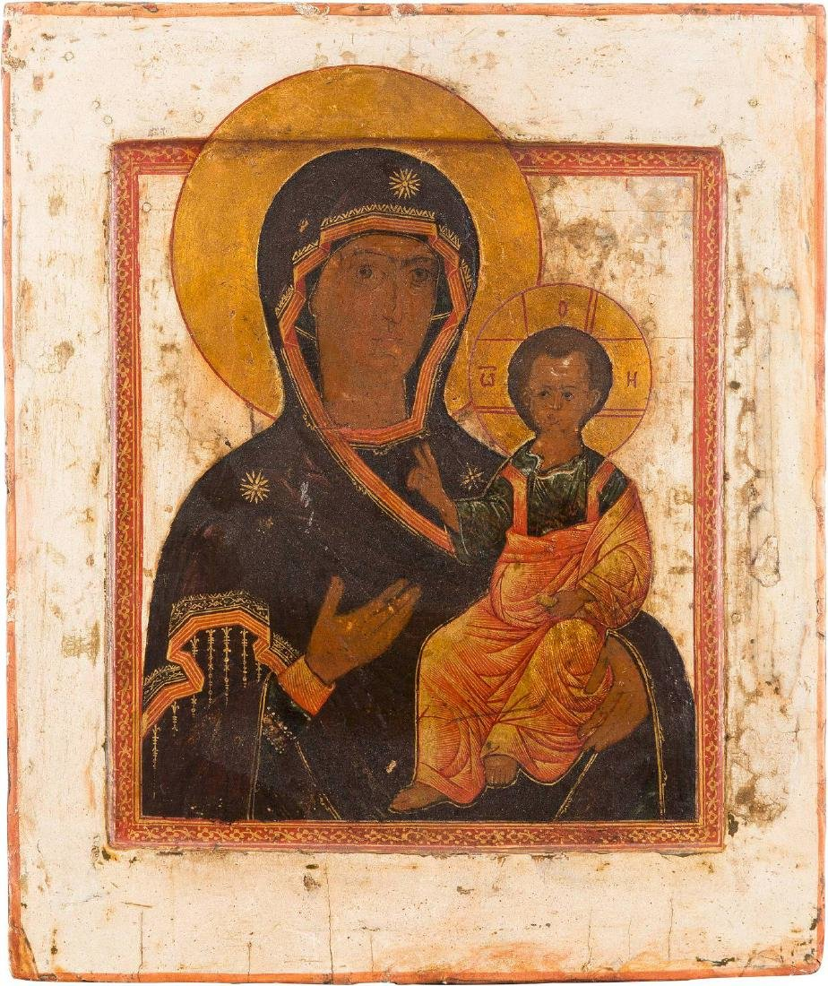 AN ICON SHOWING THE SMOLENSKAYA MOTHER OF GOD WITH - 2