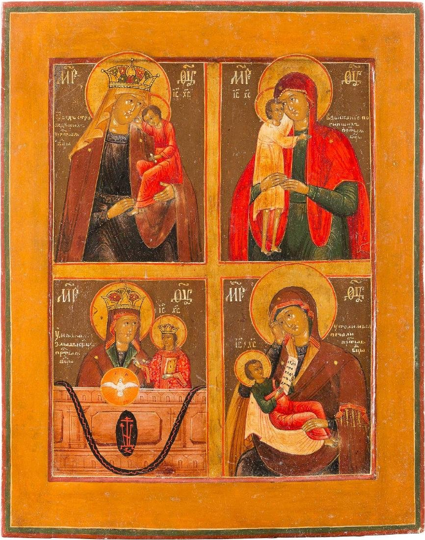 A QUADRI-PARTITE ICON SHOWING IMAGES OF THE MOTHER OF - 2