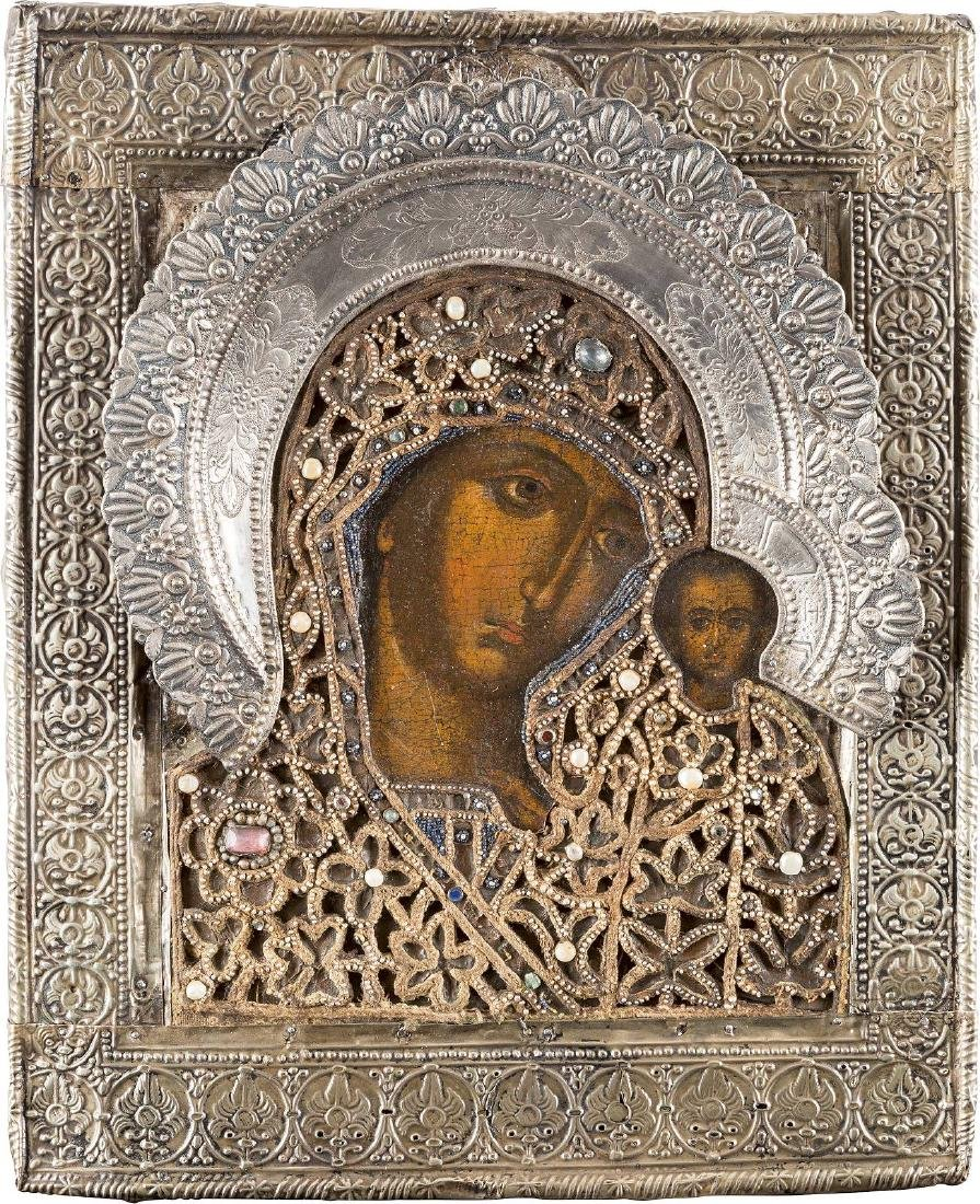 AN ICON SHOWING THE KAZANSKAYA MOTHER OF GOD WITH