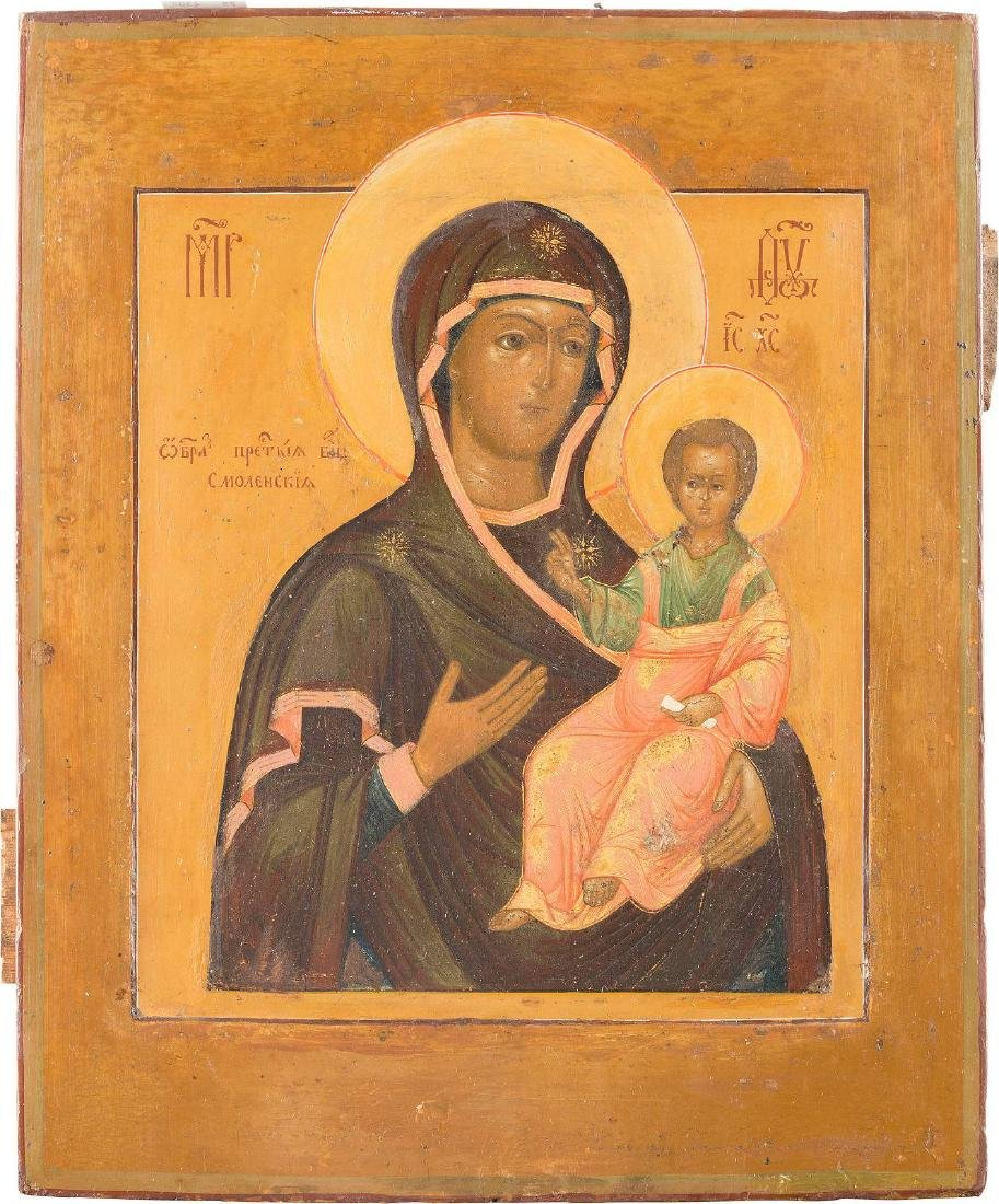 AN ICON SHOWING THE MOTHER OF GOD OF SMOLENSK Russian,