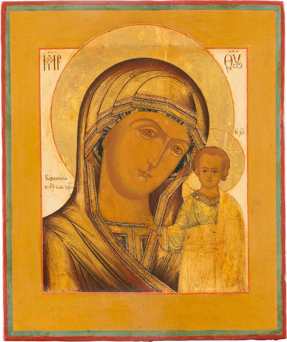 A FINE ICON SHOWING THE KAZANSKAYA MOTHER OF GOD