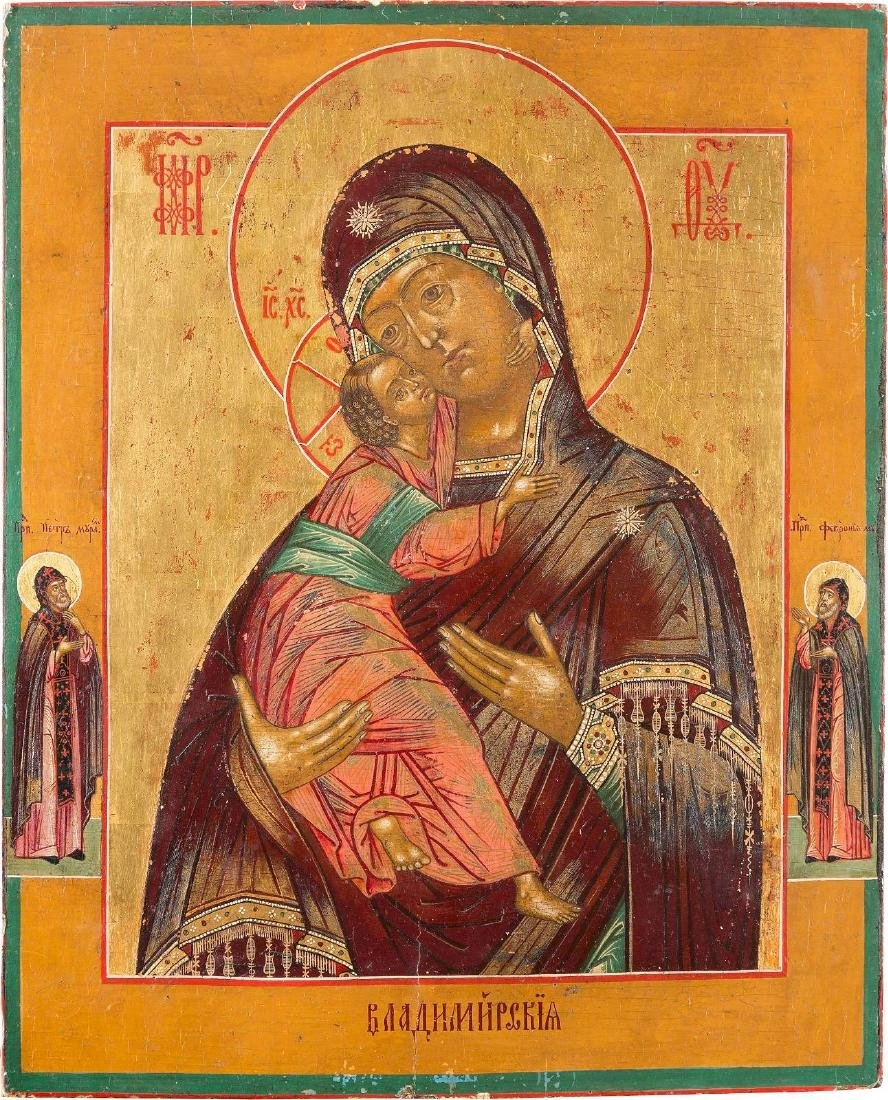 AN ICON SHOWING THE VLADIMIRSKAYA MOTHER OF GOD