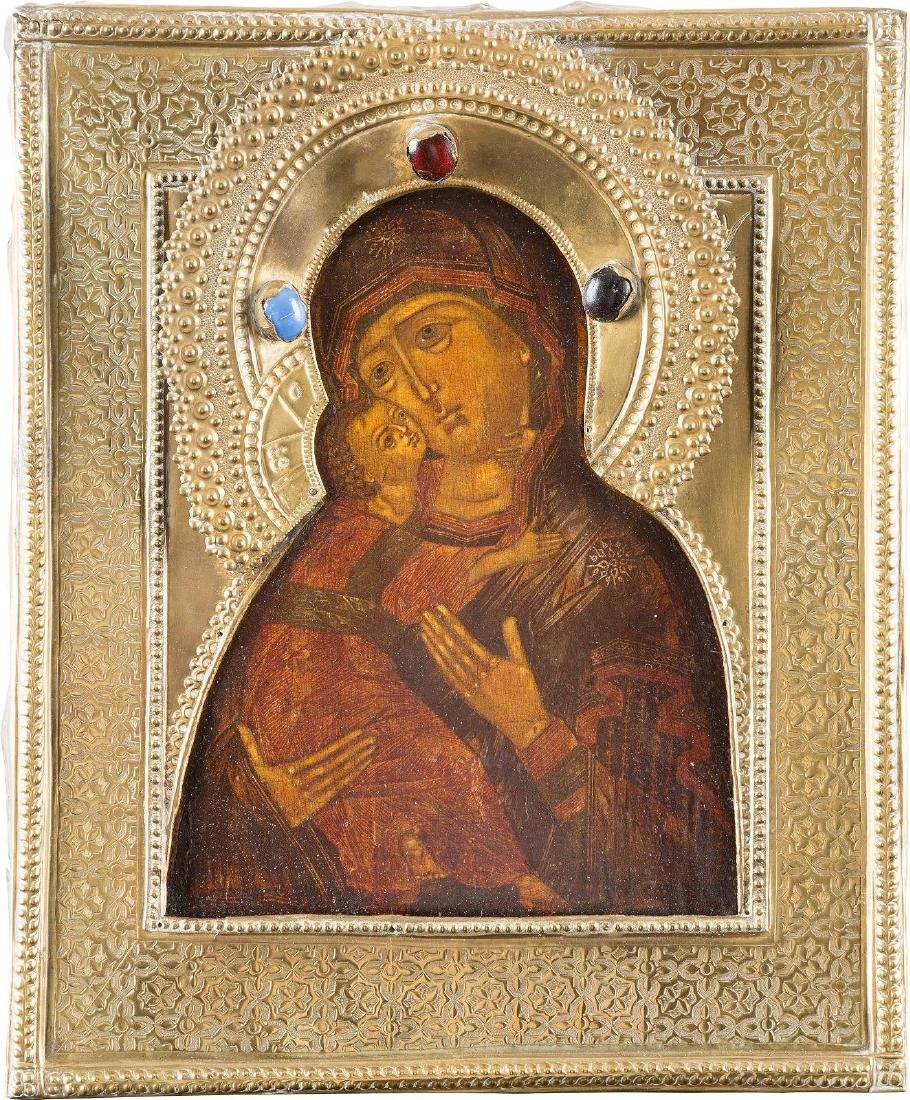 AN ICON SHOWING THE VLADIMIRSKAYA MOTHER OF GOD WITH