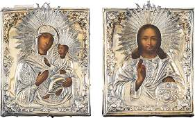 A FINE PAIR OF WEDDING ICONS WITH SILVERGILT OKLAD