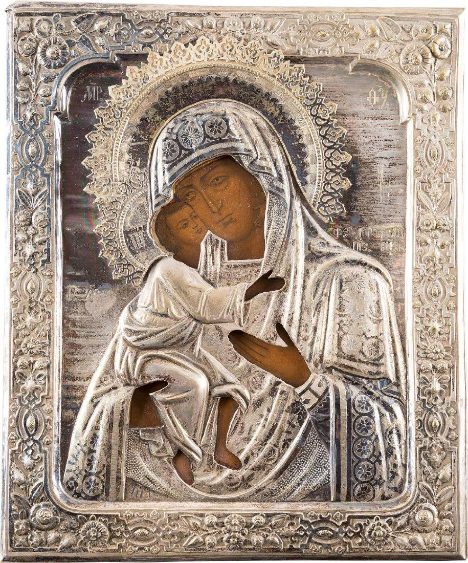 A LARGE ICON SHOWING THE FEODOROVSKAYA MOTHER OF GOD