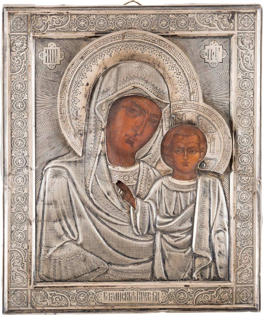 AN ICON OF THE KAZANSKAYA MOTHER OF GOD WITH SILVER