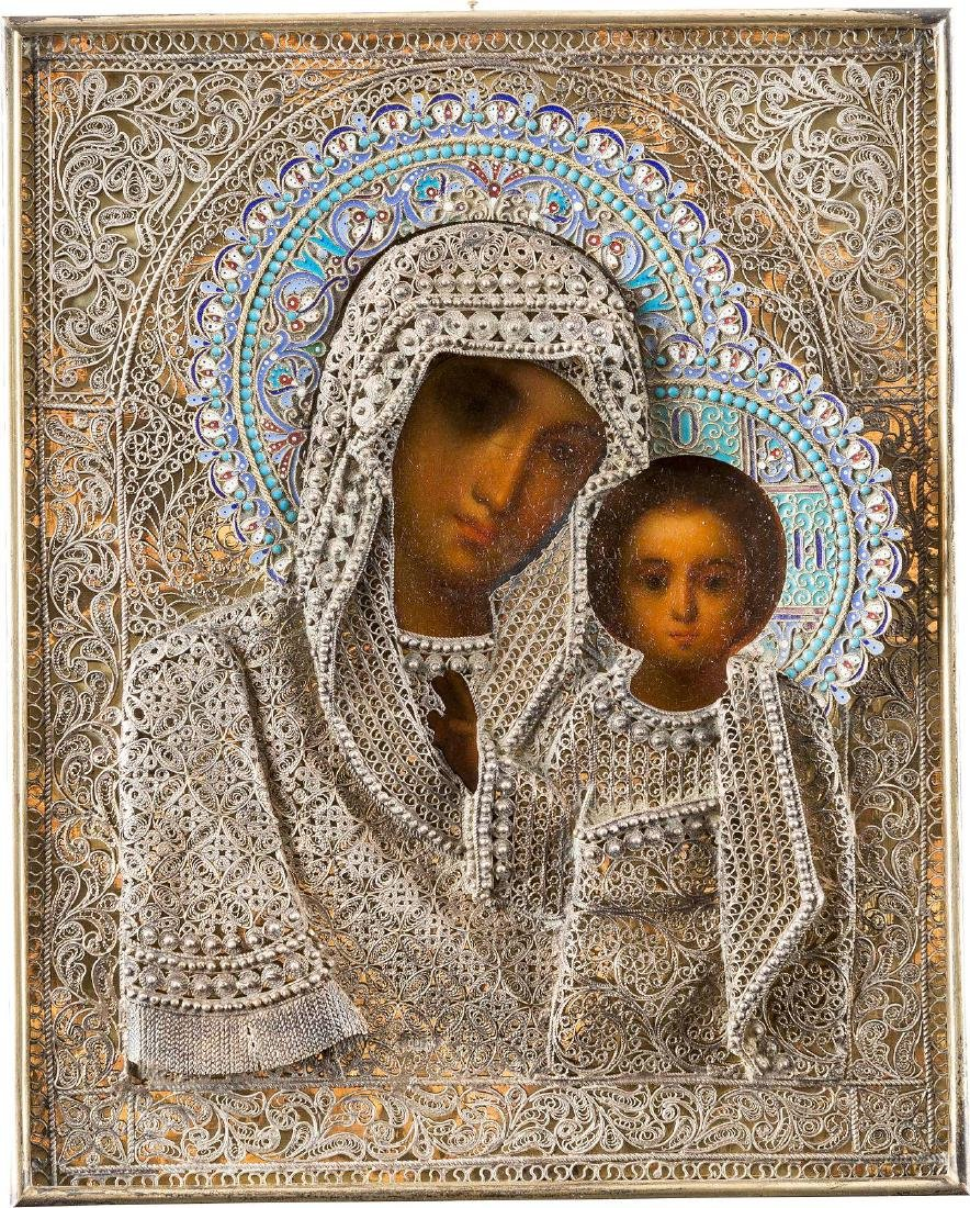 A SILVER-GILT, CLOISONNÉ ENAMEL AND FILIGREE ICON OF - 2