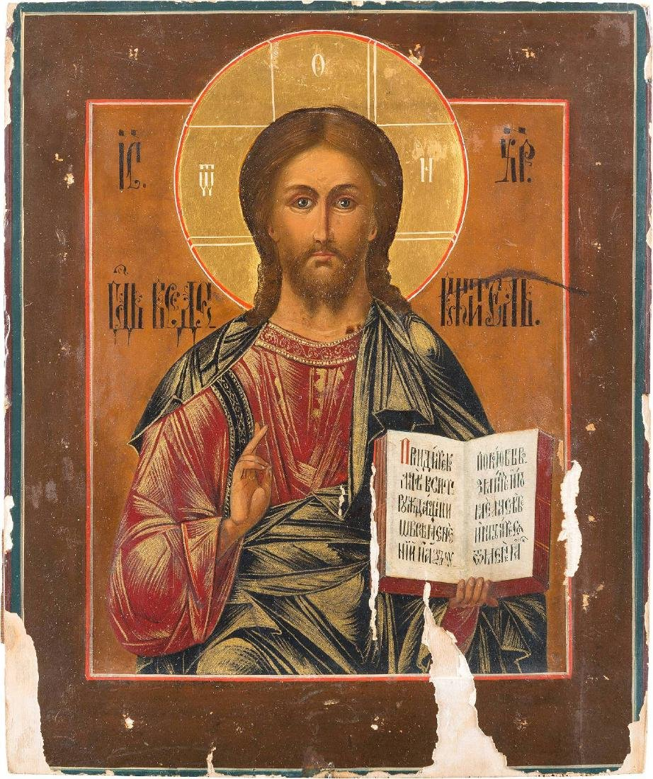 AN ICON SHOWING CHRIST PANTOKRATOR Russian, late 19th