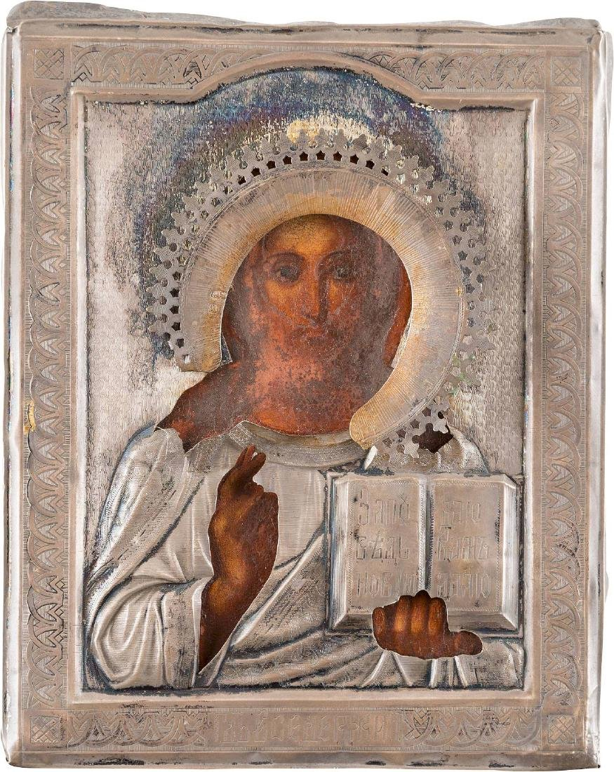 A SMALL ICON SHOWING CHRIST PANTOKRATOR WITH SILVER