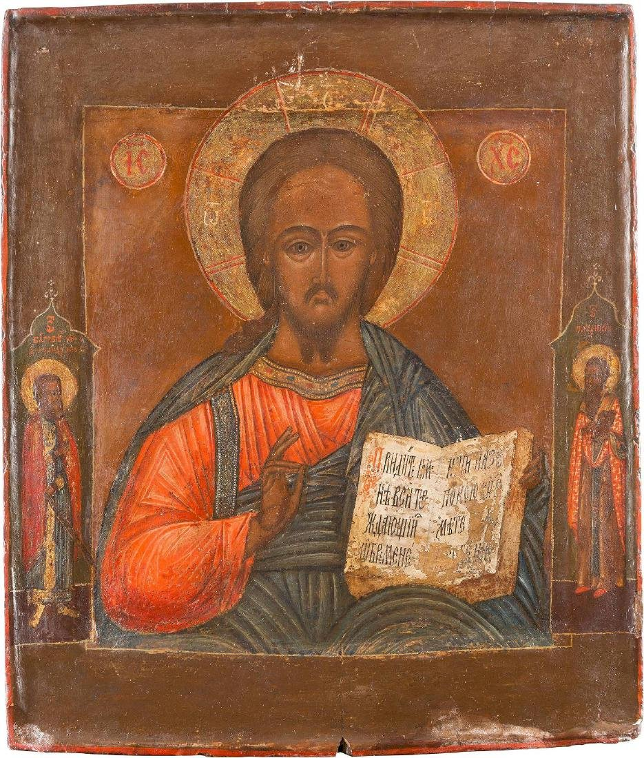 AN ICON SHOWING CHRIST PANTOKRATOR Russian, 18th