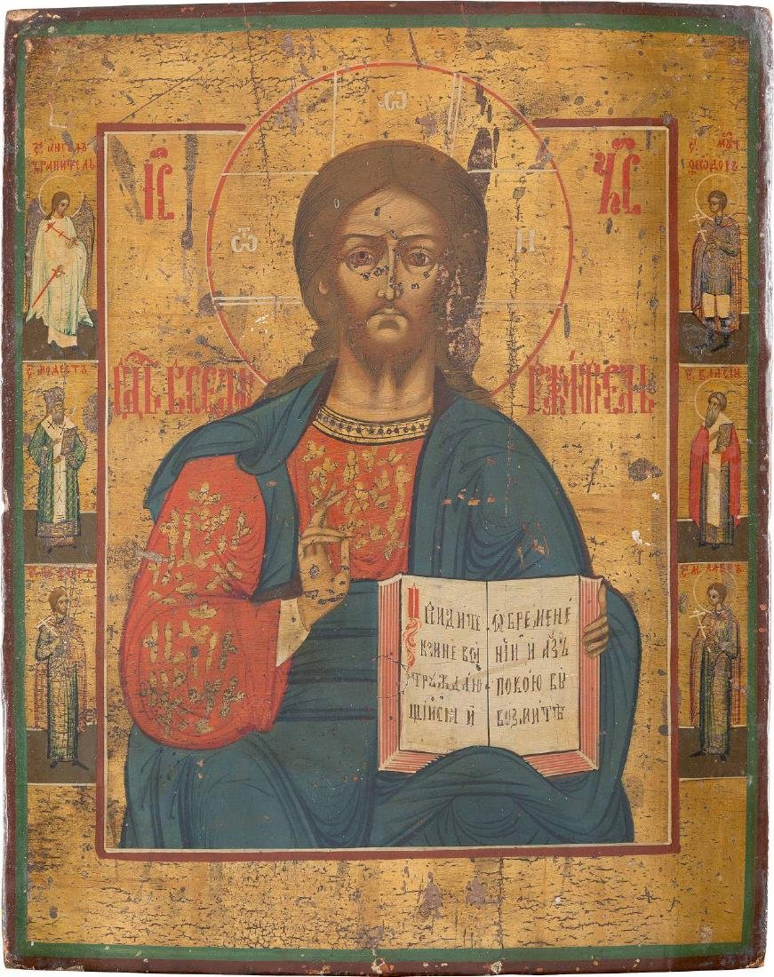AN ICON SHOWING CHRIST PANTOKRATOR Russian, 19th