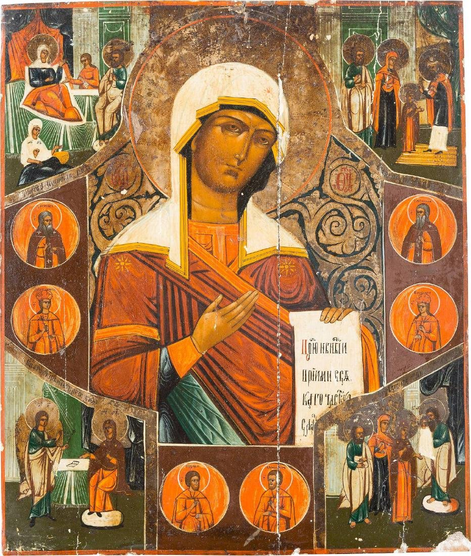 A LARGE ICON SHOWING THE MOTHER OF GOD FROM A DEISIS,