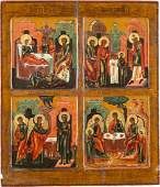 A LARGE QUADRIPARTITE ICON SHOWING FOUR MAIN FEATS