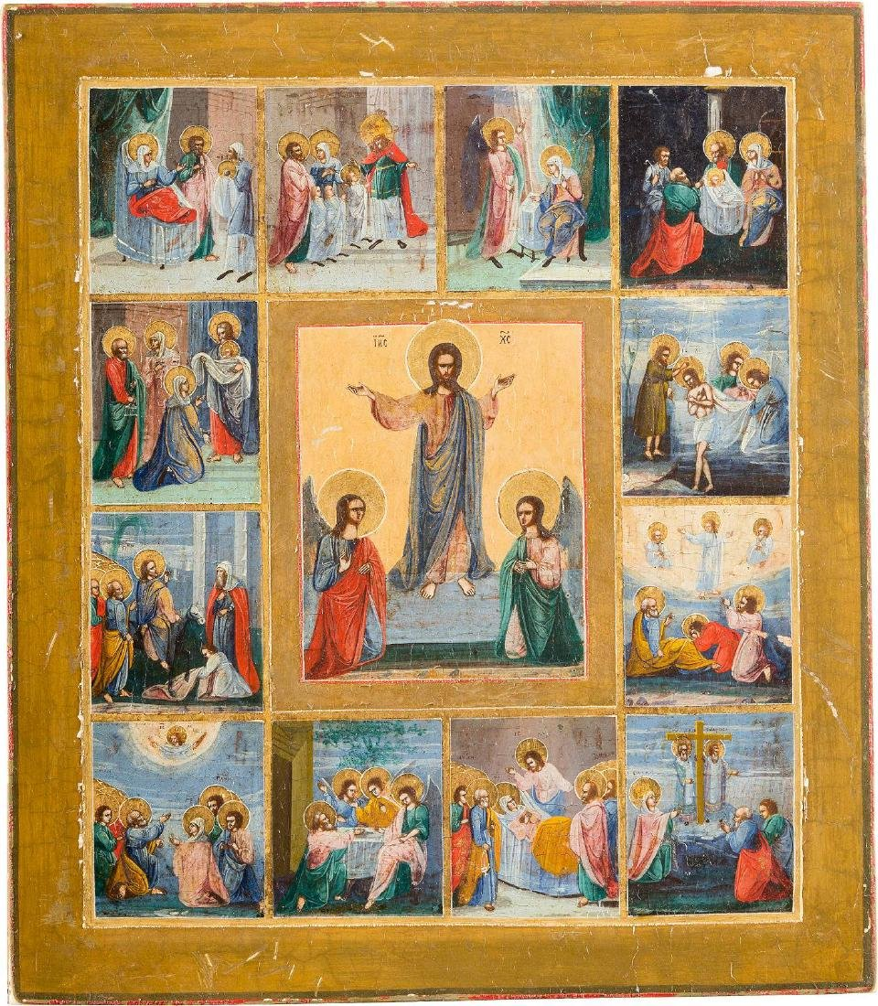 AN ICON SHOWING THE RESURRECTION WITHIN A SURROUND OF
