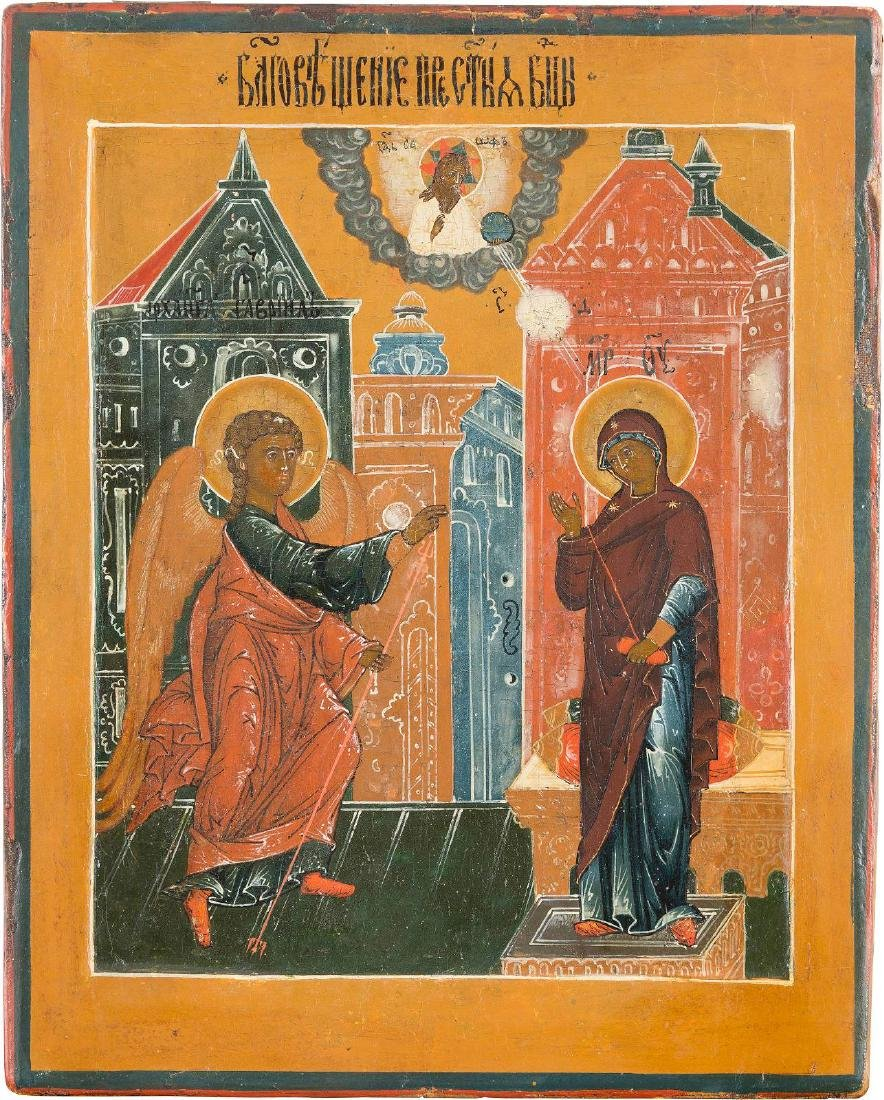 A SMALL ICON SHOWING THE ANNUNCIATION Russian, 18th