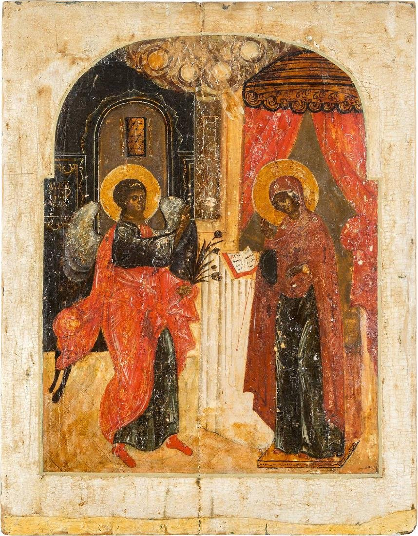 A LARGE ICON SHOWING THE ANNUNCIATION Russian, 18th