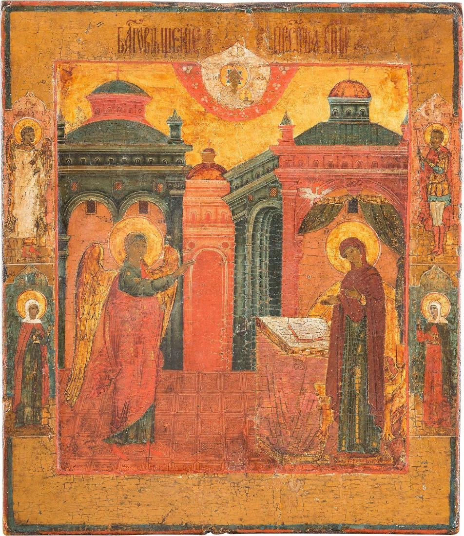 AN ICON SHOWING THE ANNUNCIATION Russian, circa 1800