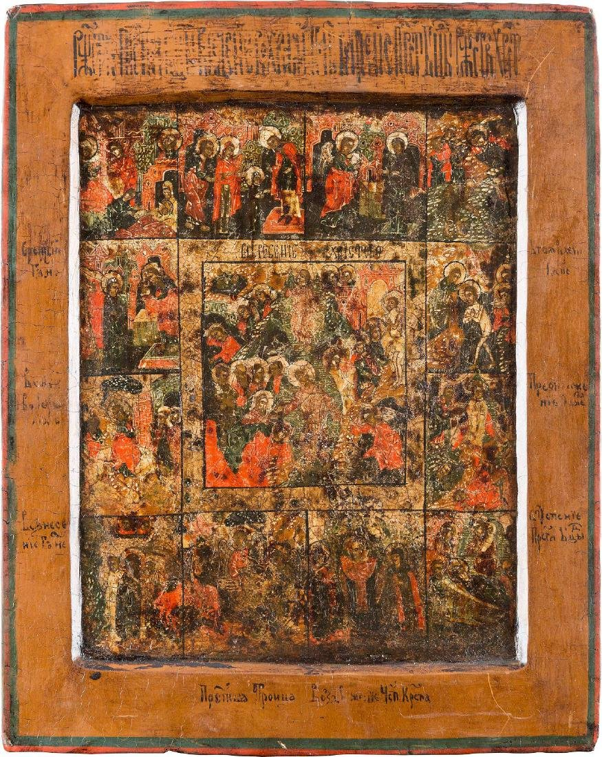 A SMALL ICON SHOWING THE RESURRECTION AND THE DESCENT