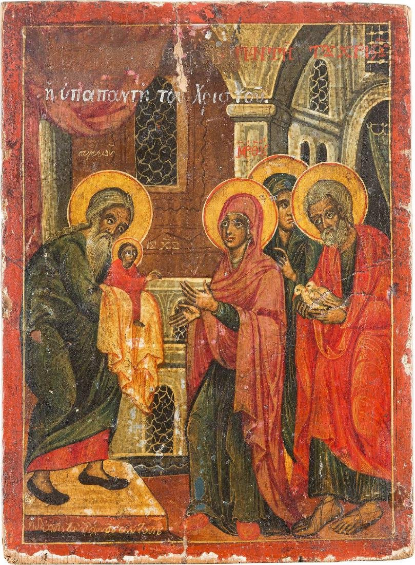 AN ICON SHOWING THE PRESENTATION OF CHRIST IN THE