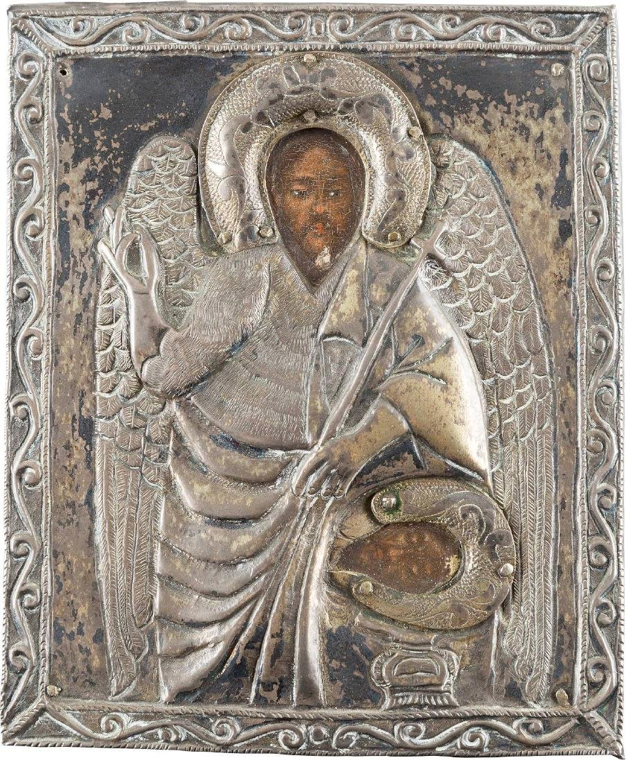 A SMALL ICON SHOWING ST. JOHN THE FORERUNNER WITH OKLAD