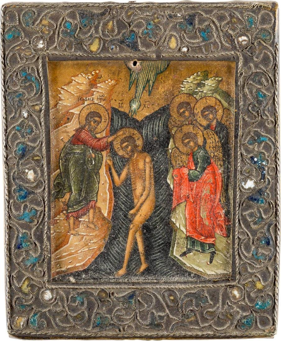 A MINIATURE ICON SHOWING THE BAPTISM OF CHRIST WITH