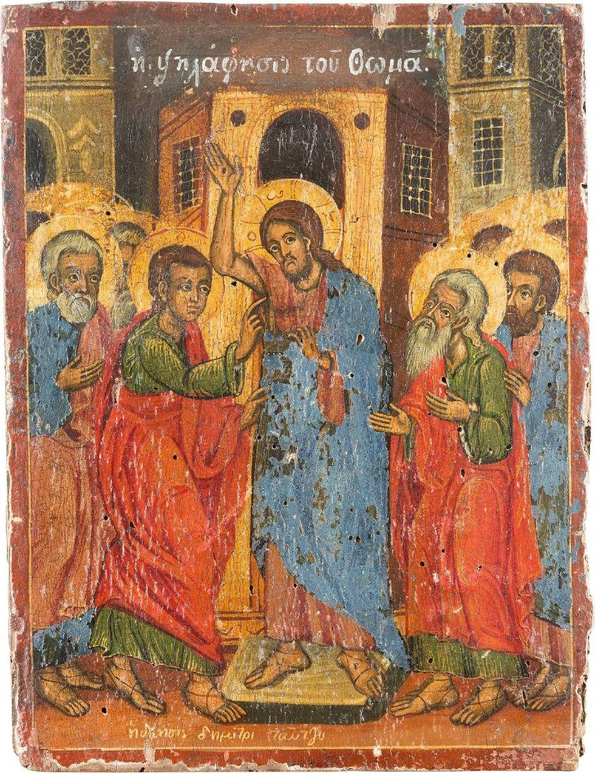 A RARE ICON SHOWING THE INCREDULITY OF ST. THOMAS