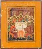 A SMALL ICON SHOWING THE LAST SUPPER Russian 19th