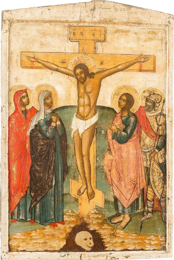 A MONUMENTAL ICON DEPICTING THE CRUCIFIXION FROM A