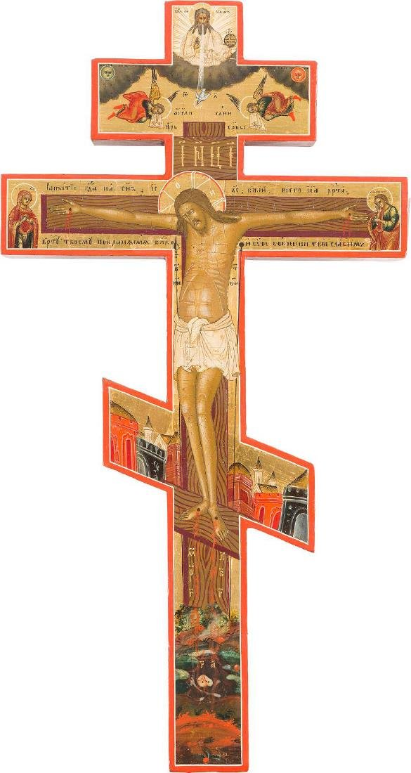A FINELY PAINTED CRUCIFIX Central Russian, 19th century