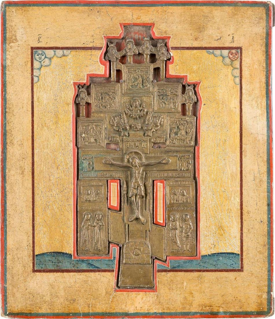 A BRASS CRUCIFIX INSET INTO A PANEL Russian, 19th
