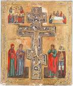 A LARGE ICON SHOWING THE CRUCIFIXION OF CHRIST Russian