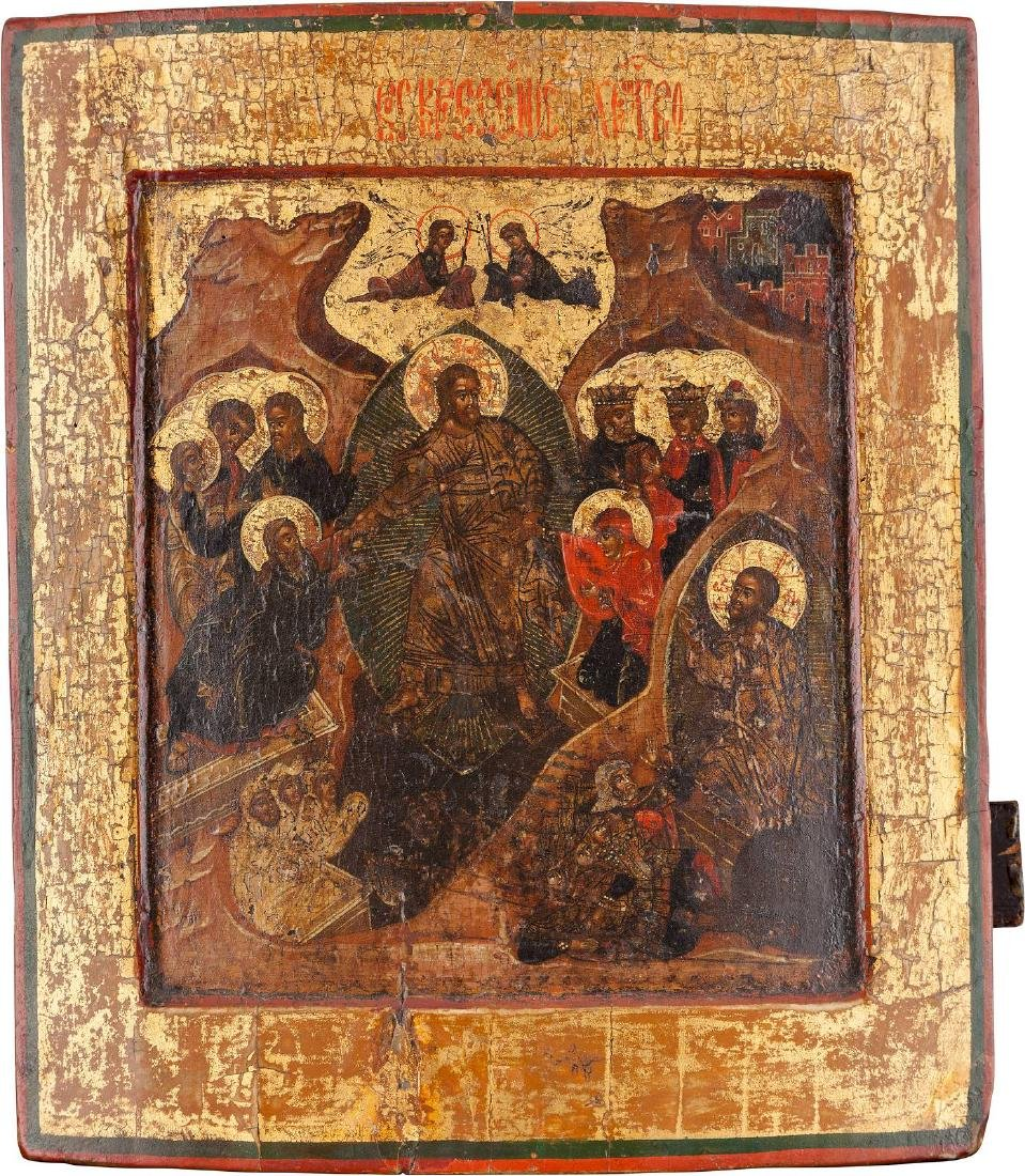 AN ICON SHOWING CHRIST'S DESCENT INTO HELL Moscow or